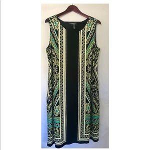 Alfani Womens Dress Size 1X Sleeveless Black Green